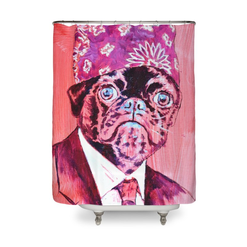 """pug mike Home Shower Curtain by Art Prints by Seama available under """"Home"""""""