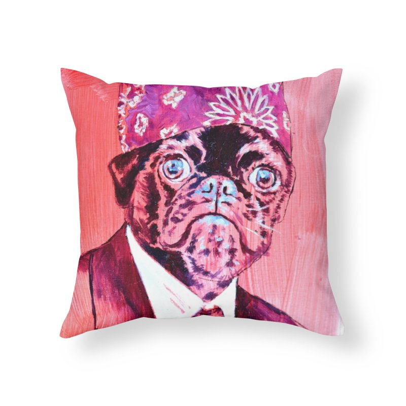 "pug mike Home Throw Pillow by Art Prints by Seama available under ""Home"""