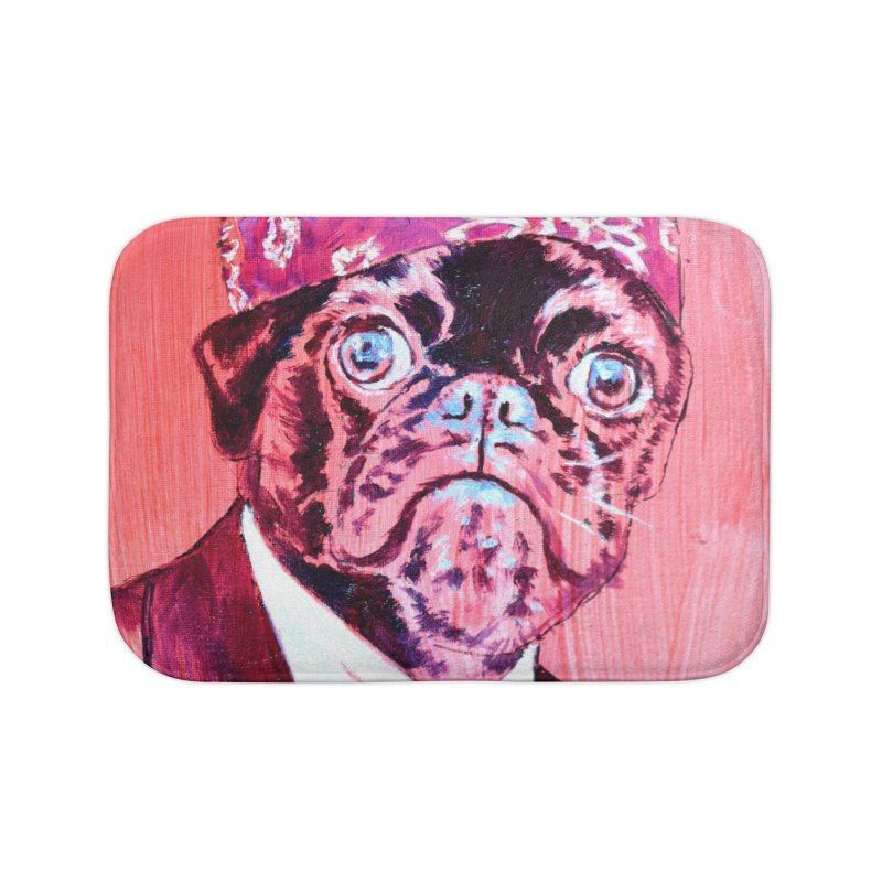"""pug mike Home Bath Mat by Art Prints by Seamus Wray available under """"Home"""""""