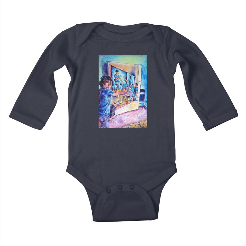 """selfportraitception Kids Baby Longsleeve Bodysuit by Art Prints by Seamus Wray available under """"Home"""""""