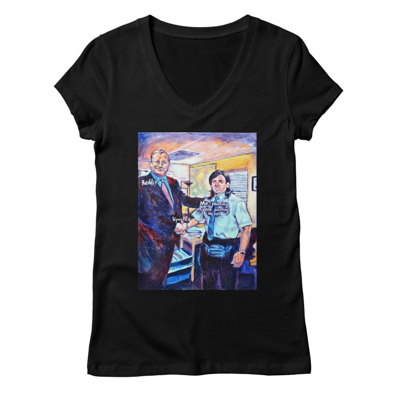"""painting myself meme Women's V-Neck by Art Prints by Seamus Wray available under """"Home"""""""