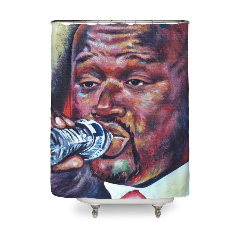 """Shaq Water Home Shower Curtain by Art Prints by Seamus Wray available under """"Home"""""""
