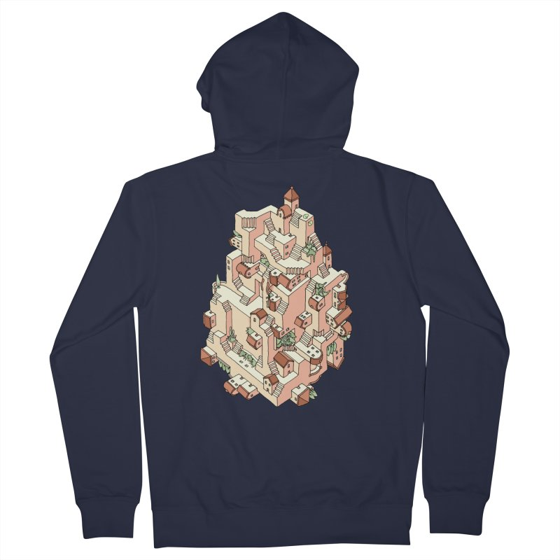 Tower Maze in Men's French Terry Zip-Up Hoody Navy by Sean C Jackson