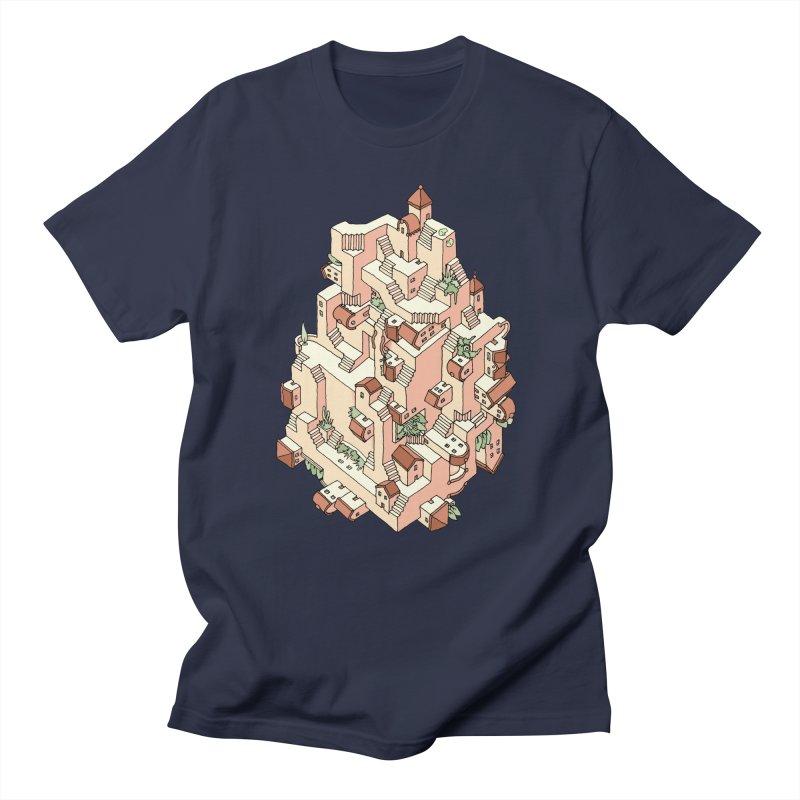 Tower Maze in Men's Regular T-Shirt Navy by Sean C Jackson