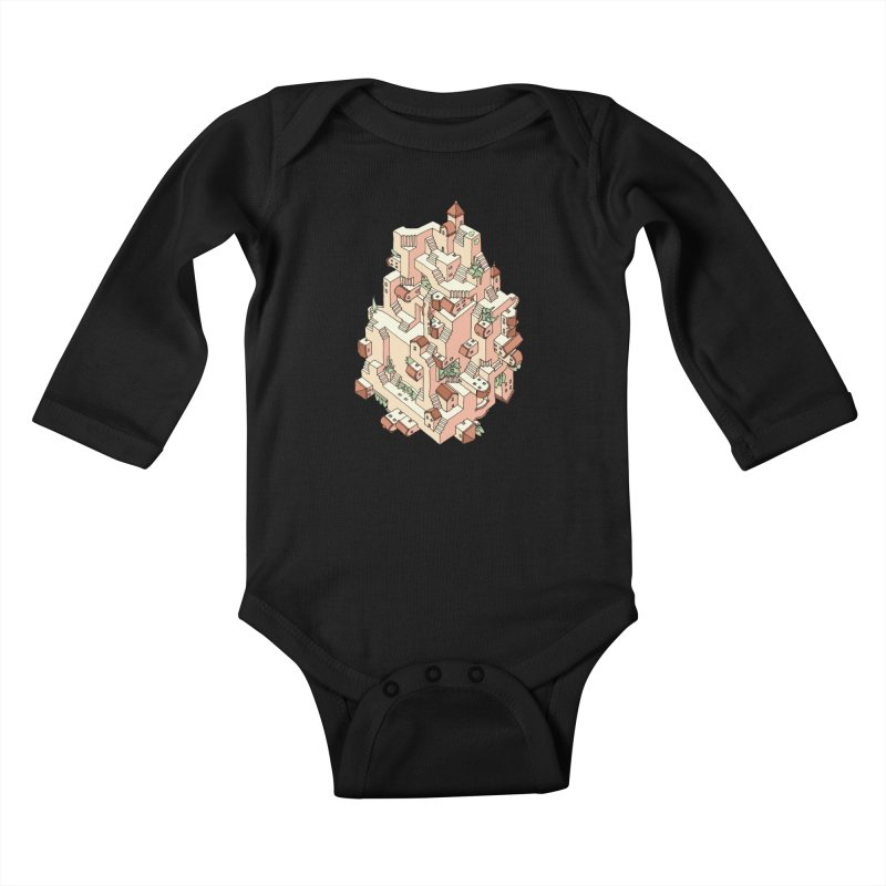 Tower Maze Kids Baby Longsleeve Bodysuit by Sean C Jackson