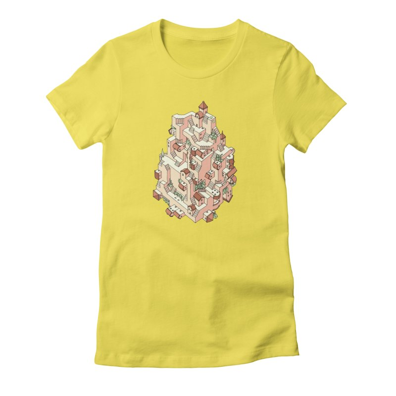 Tower Maze in Women's Fitted T-Shirt Vibrant Yellow by Sean C Jackson
