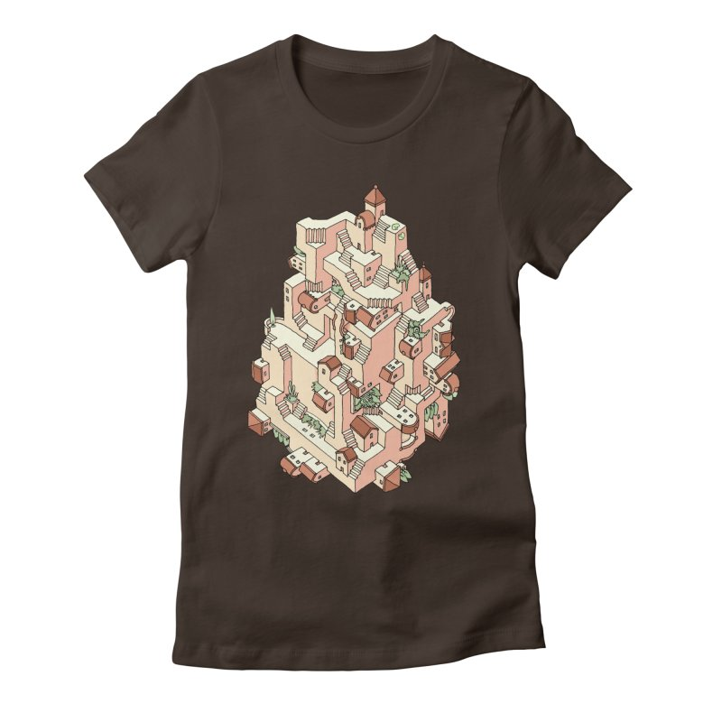Tower Maze Women's Fitted T-Shirt by Sean C Jackson