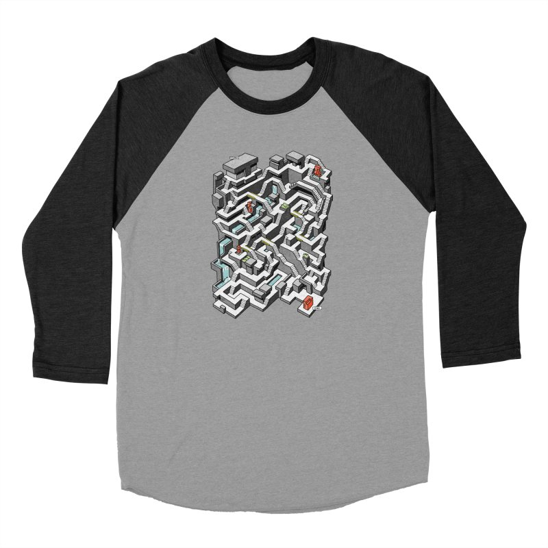 Brutal Maze Men's Baseball Triblend Longsleeve T-Shirt by Sean C Jackson