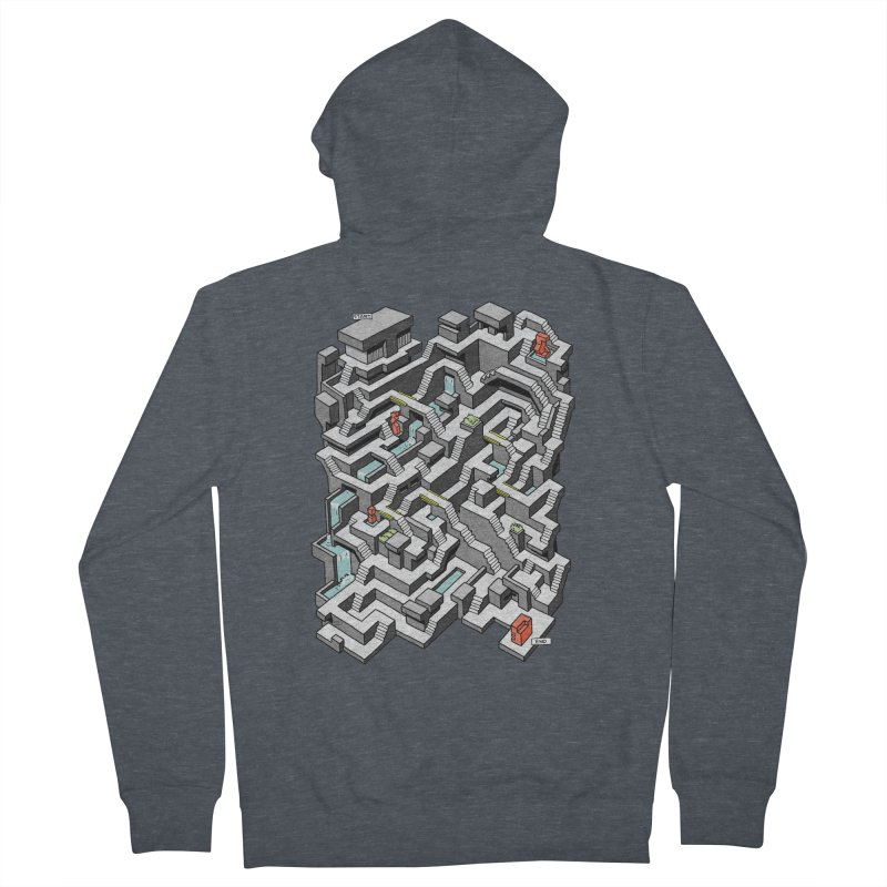 Brutal Maze Women's French Terry Zip-Up Hoody by Sean C Jackson