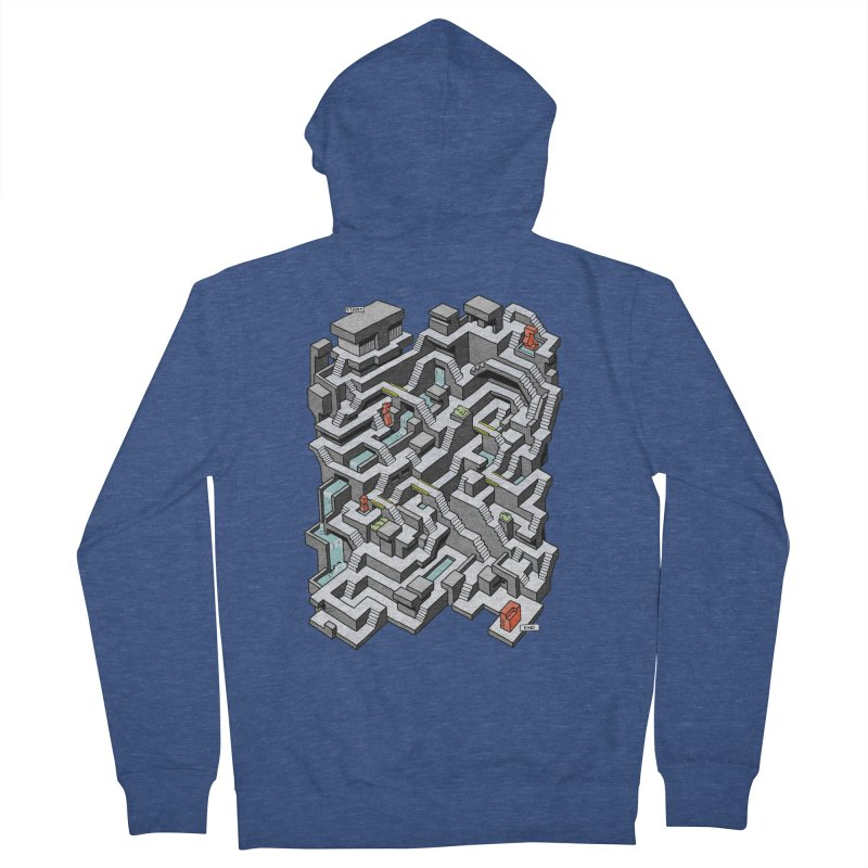 Brutal Maze Men's Zip-Up Hoody by Sean C Jackson