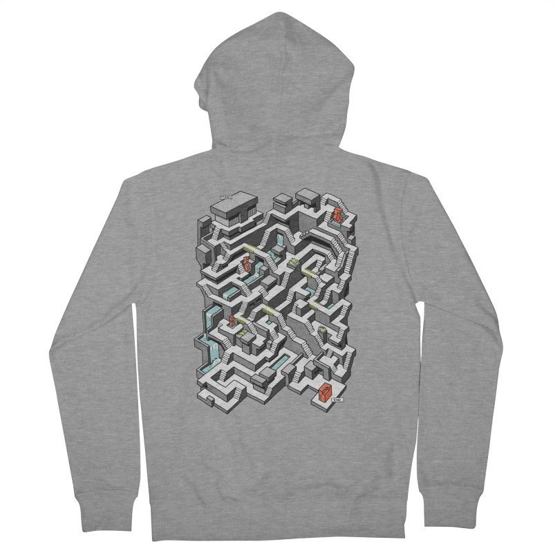 Brutal Maze Men's French Terry Zip-Up Hoody by Sean C Jackson