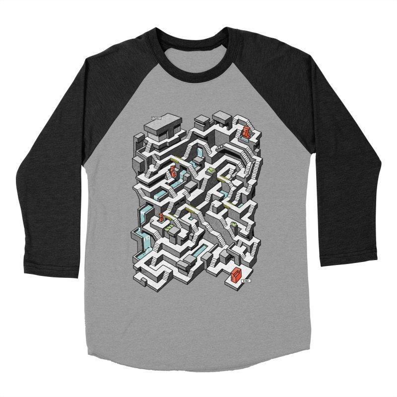 Brutal Maze Men's Baseball Triblend Longsleeve T-Shirt by Sean C Jackson