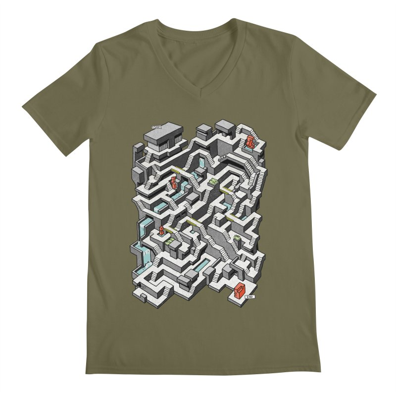 Brutal Maze Men's V-Neck by Sean C Jackson