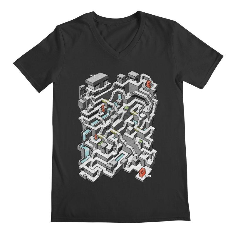 Brutal Maze Men's V-Neck by Sean C Jackson