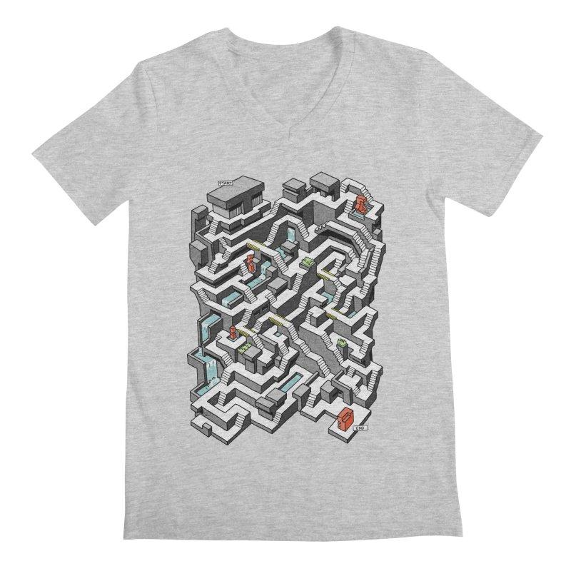 Brutal Maze Men's Regular V-Neck by Sean C Jackson