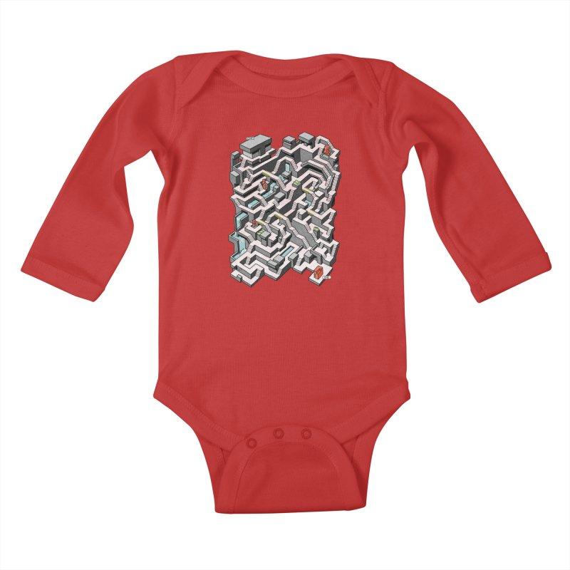 Brutal Maze Kids Baby Longsleeve Bodysuit by Sean C Jackson