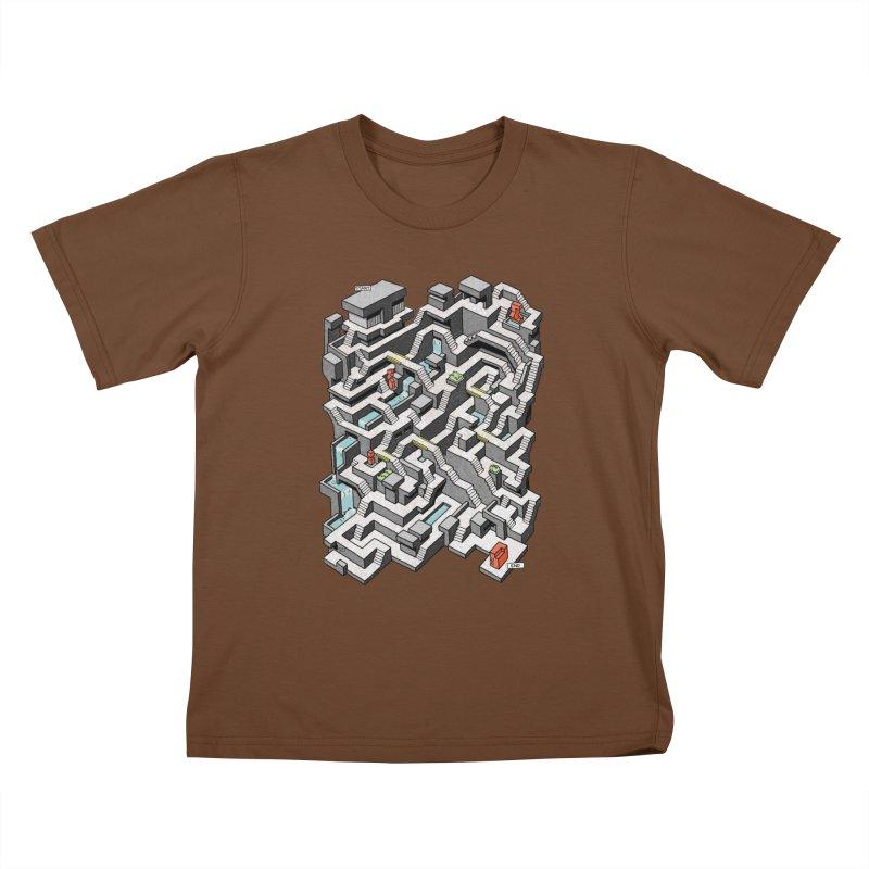 Brutal Maze Kids T-Shirt by Sean C Jackson