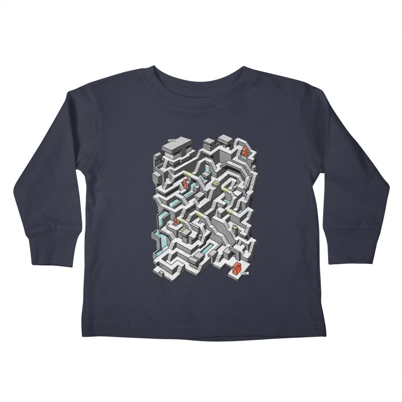 Brutal Maze Kids Toddler Longsleeve T-Shirt by Sean C Jackson