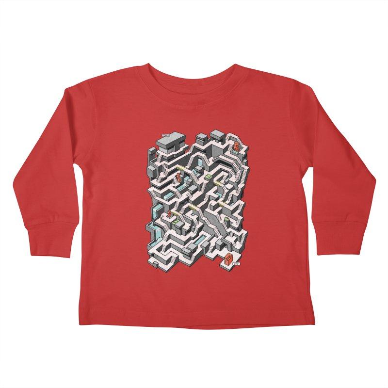 Brutal Maze Kids Toddler Longsleeve T-Shirt by Sean C Jackson