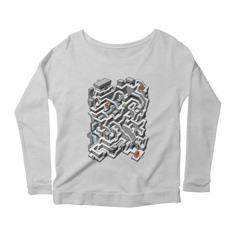 Brutal Maze Women's Scoop Neck Longsleeve T-Shirt by Sean C Jackson