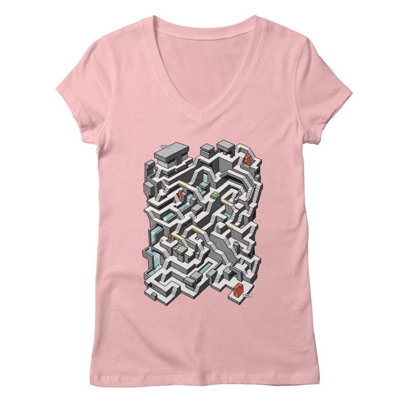 Brutal Maze Women's Regular V-Neck by Sean C Jackson