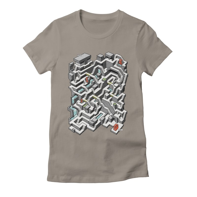 Brutal Maze Women's Fitted T-Shirt by Sean C Jackson