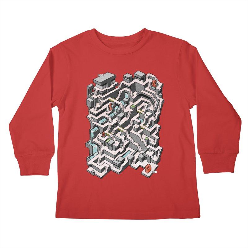 Brutal Maze Kids Longsleeve T-Shirt by Sean C Jackson