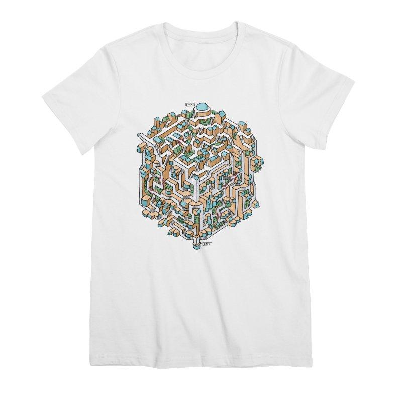 Cube Maze Women's Premium T-Shirt by Sean C Jackson