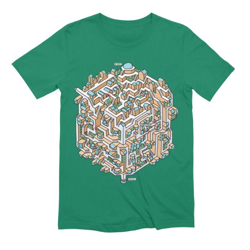 Cube Maze Men's Extra Soft T-Shirt by Sean C Jackson
