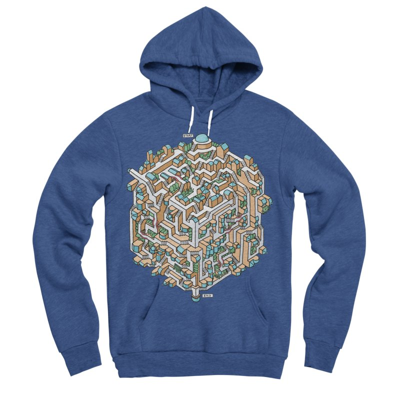 Cube Maze Men's Sponge Fleece Pullover Hoody by Sean C Jackson