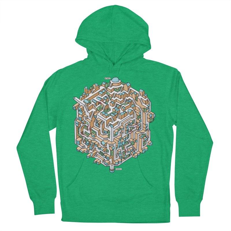 Cube Maze Women's French Terry Pullover Hoody by Sean C Jackson