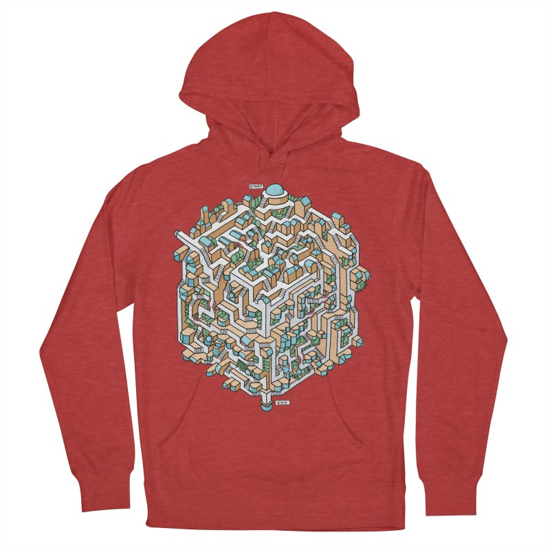 Cube Maze Men's French Terry Pullover Hoody by Sean C Jackson