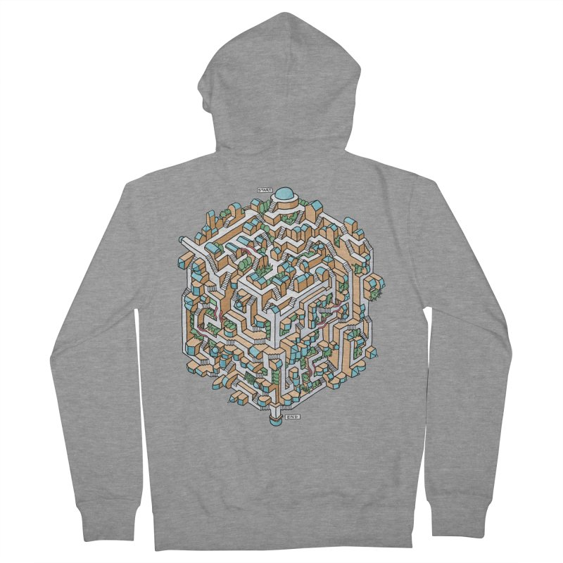 Cube Maze Women's French Terry Zip-Up Hoody by Sean C Jackson
