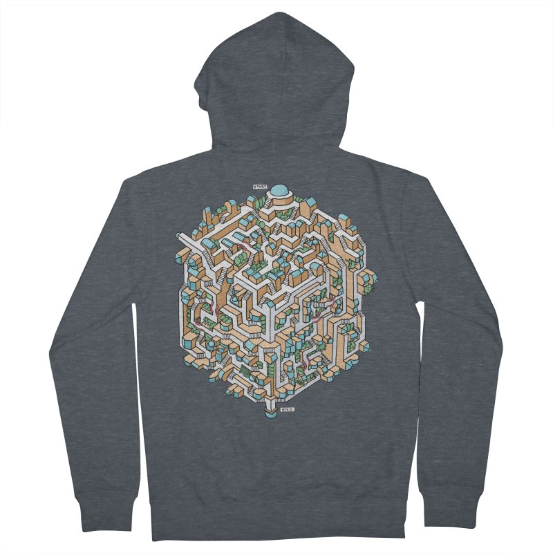 Cube Maze Men's French Terry Zip-Up Hoody by Sean C Jackson