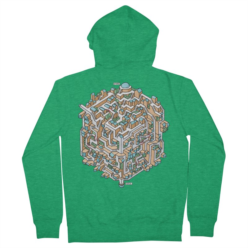 Cube Maze Men's Zip-Up Hoody by Sean C Jackson