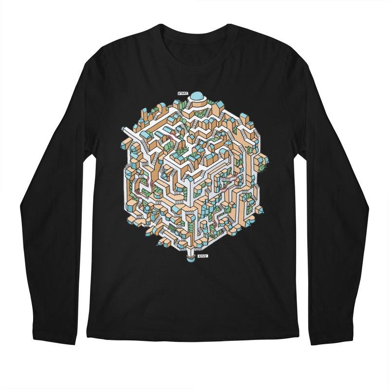 Cube Maze Men's Regular Longsleeve T-Shirt by Sean C Jackson