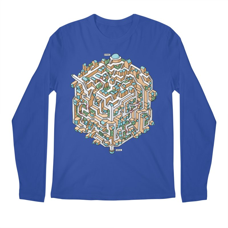 Cube Maze Men's Regular Longsleeve T-Shirt by Sean C Jackson