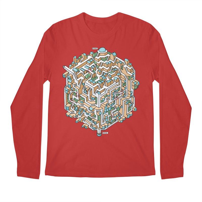 Cube Maze Men's Longsleeve T-Shirt by Sean C Jackson