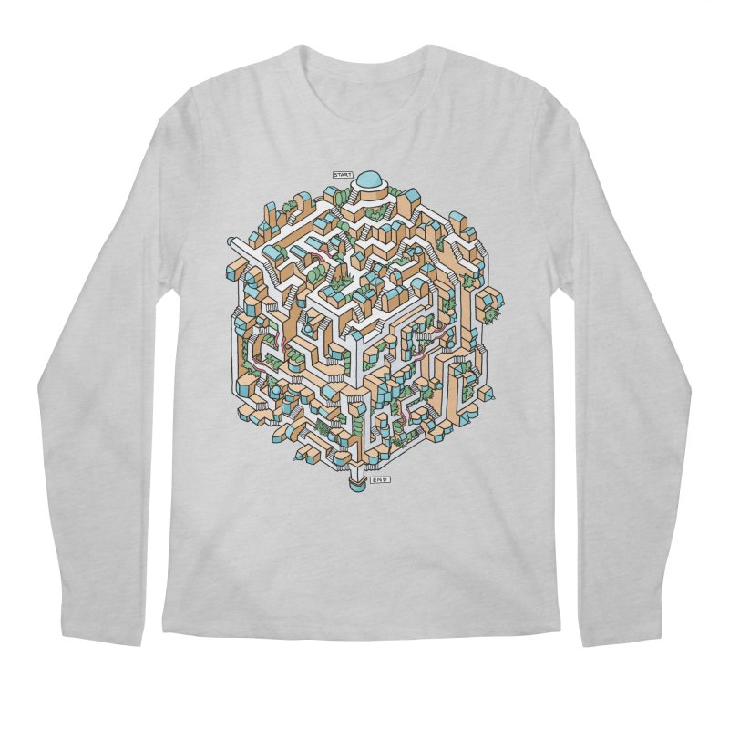 Cube Maze Men's Longsleeve T-Shirt by Sean C Jackson