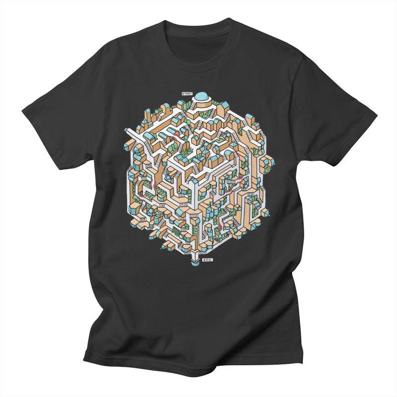 Cube Maze Men's Regular T-Shirt by Sean C Jackson
