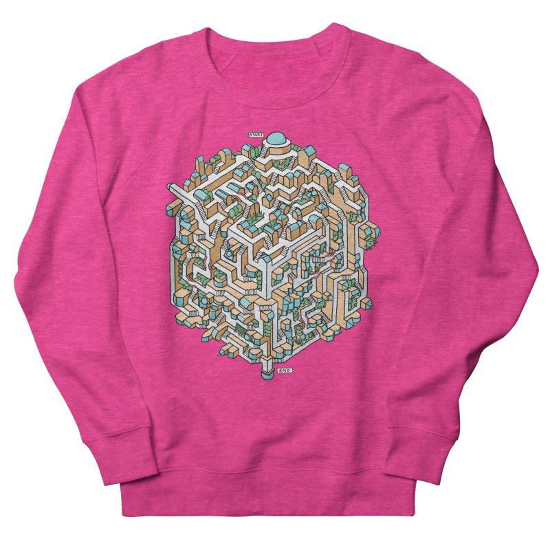 Cube Maze Women's French Terry Sweatshirt by Sean C Jackson