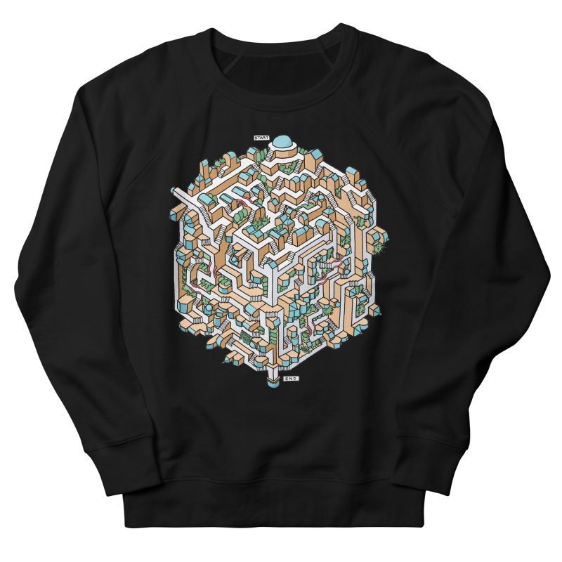 Cube Maze Women's French Terry Sweatshirt by Sean C Jackson
