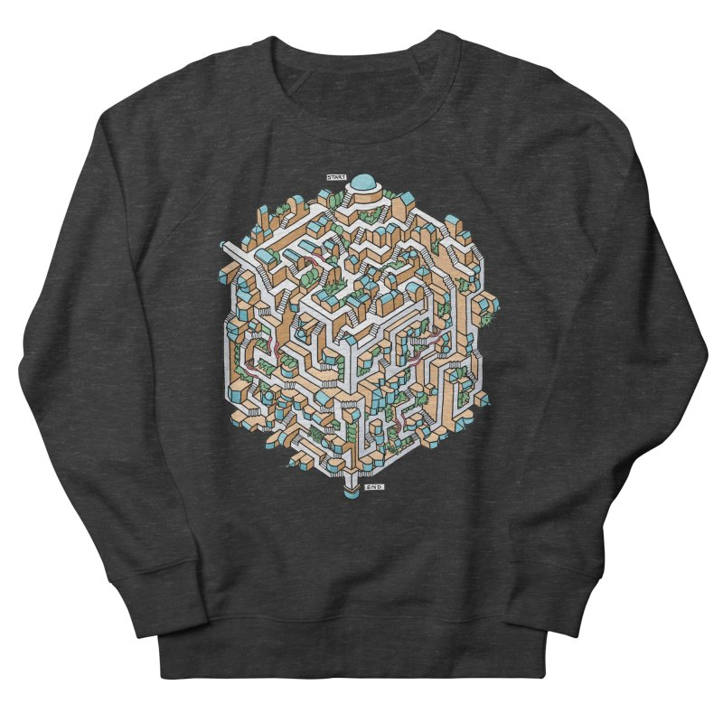Cube Maze Men's French Terry Sweatshirt by Sean C Jackson