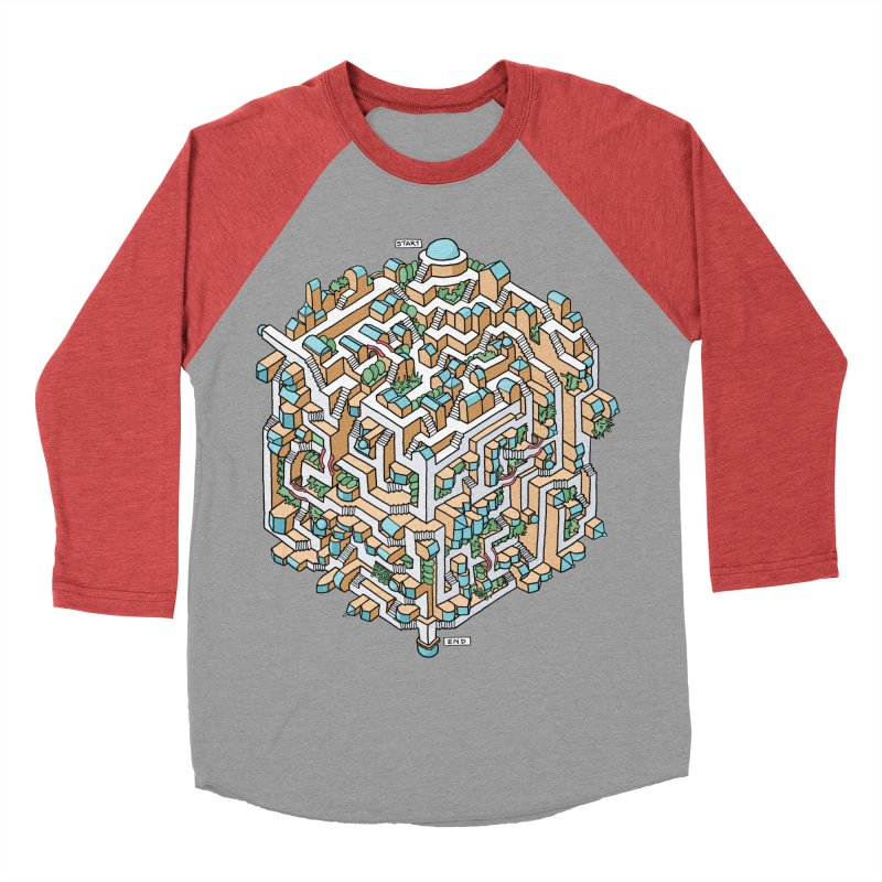 Cube Maze Women's Baseball Triblend Longsleeve T-Shirt by Sean C Jackson