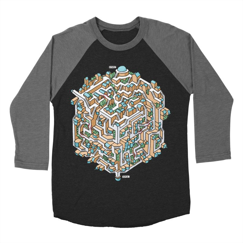 Cube Maze Men's Baseball Triblend Longsleeve T-Shirt by Sean C Jackson