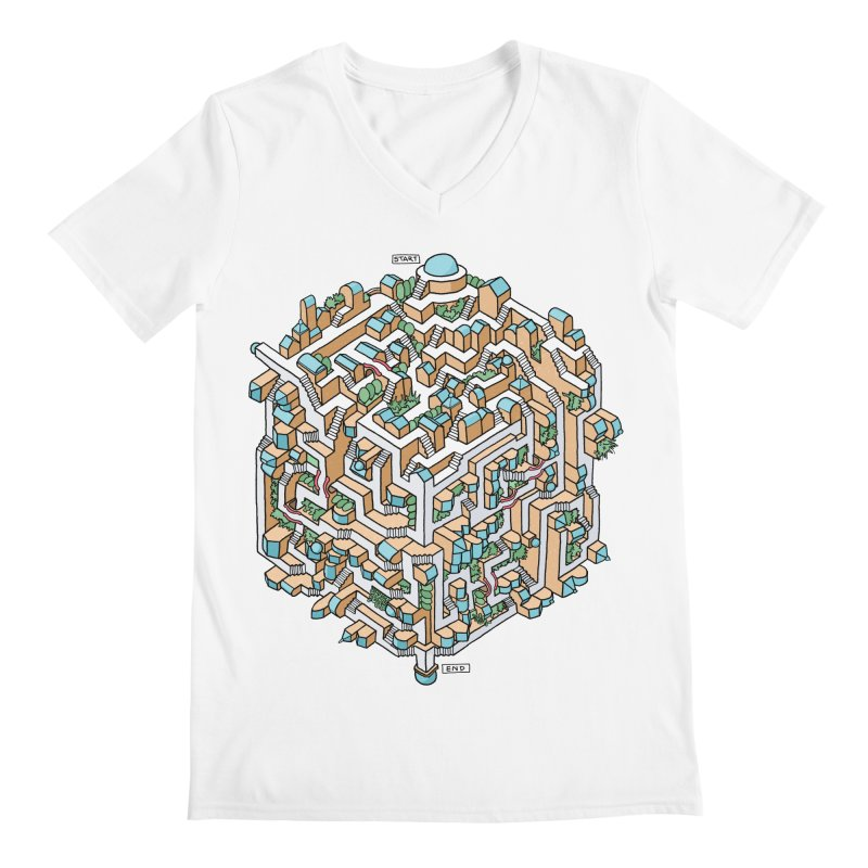 Cube Maze Men's V-Neck by Sean C Jackson