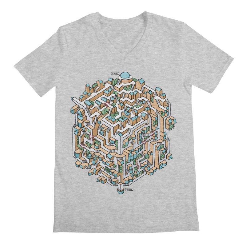 Cube Maze Men's Regular V-Neck by Sean C Jackson