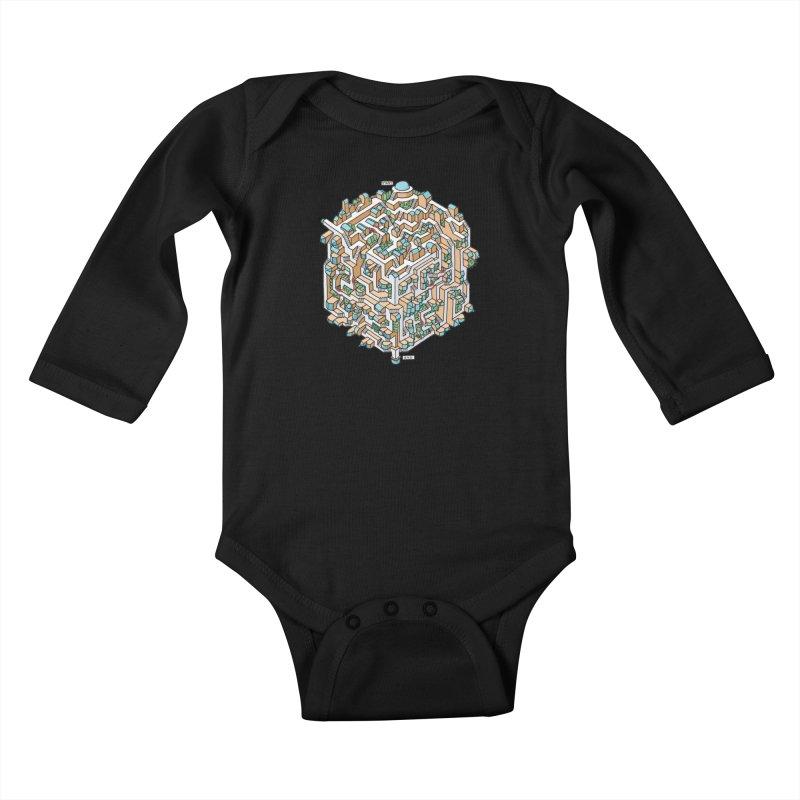 Cube Maze Kids Baby Longsleeve Bodysuit by Sean C Jackson