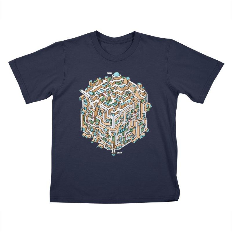 Cube Maze Kids T-Shirt by Sean C Jackson