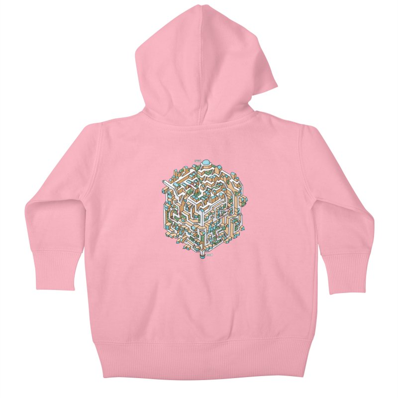 Cube Maze Kids Baby Zip-Up Hoody by Sean C Jackson